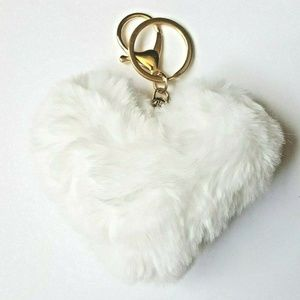 Accessories - Heart Pom Purse Charm Keychain Faux Fur White 3""